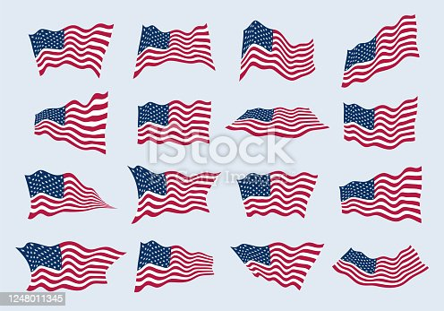 istock The US flag waving in the wind from different angles. Set of american flags. Design element of vector illustration. 1248011345