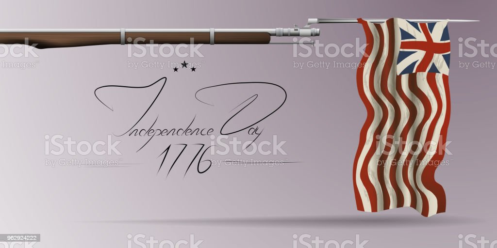 The US independence day. Background on independence day. The 4th of July. Background with a musket. A musket with a bayonet. Lettering-independence day.