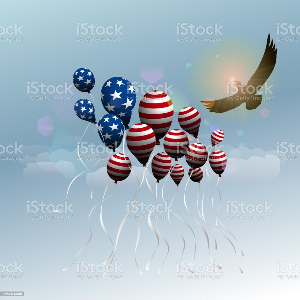 The US independence day.  Background with balloons in the form of the US flag. Flight of the balloons and the eagle up. - Grafika wektorowa royalty-free (4-go lipca)