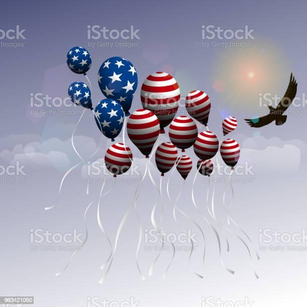 Dzień Niepodległości Usa Tło Z Balonami W Postaci Flagi Usa Lot Balonów I Orła W Górę - Stockowe grafiki wektorowe i więcej obrazów 4-go lipca