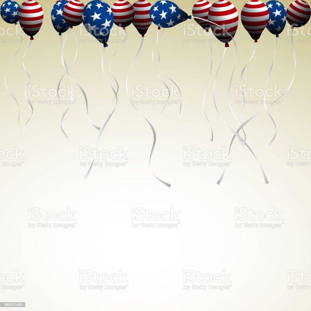 Le jour de l'indépendance américaine.  Fond avec des ballons sous la forme du drapeau américain. - clipart vectoriel de 4 juillet libre de droits