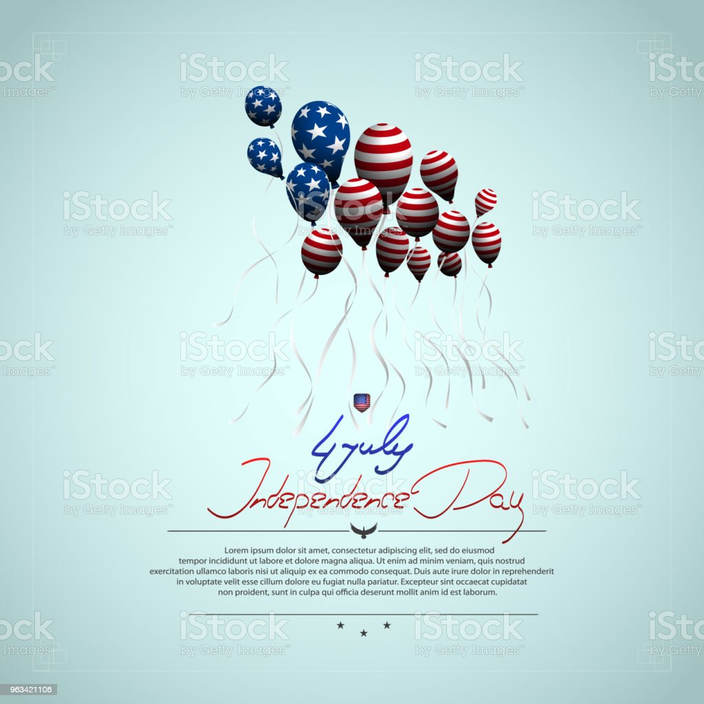 The US independence day. Background with balloons. U.S. flag. Lettering-July 4, independence day. - Grafika wektorowa royalty-free (4-go lipca)