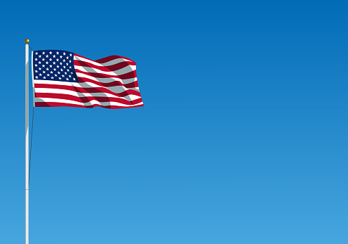 The USA flag waving on the wind. American flag hanging on the flagpole against the clear blue sky. Realistic vector illustration.