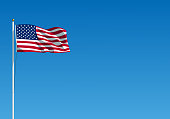 istock The USA flag waving on the wind. American flag hanging on the flagpole against the clear blue sky. Realistic vector illustration 1211286596