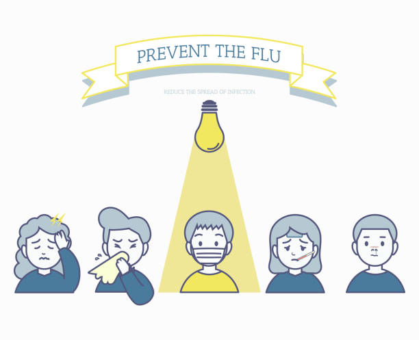 The use of face masks to prevent the Flu, minimal unhealthy people for influenza transmission concept minimal hand draw style pneumonia stock illustrations