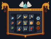 The user interface for the game: main menu, settings, runes, spells, armor. Vector flat style