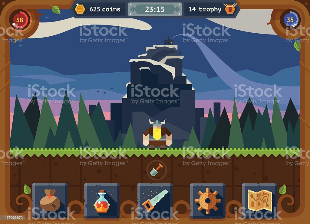 The user interface for the game vector art illustration