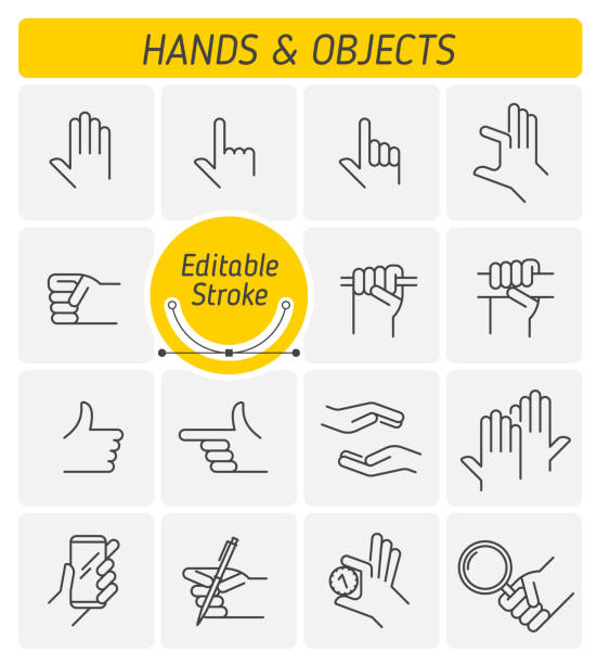 the various gestures of human hands outline vector icon set. - squeezing stock illustrations