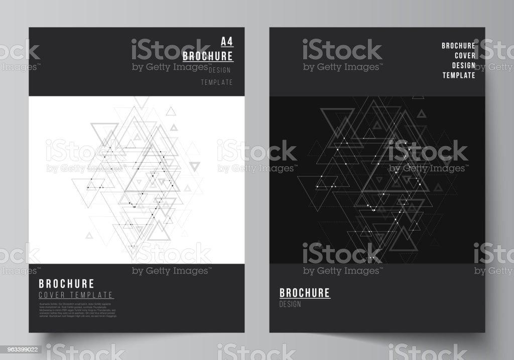 Wektor edytowalny układ formatu A4 obejmuje makiety szablonów projektowych broszur, magazynów, ulotek, broszur. Wielokątne tło z trójkątami, łączącymi kropki i linie. Struktura połączeń - Grafika wektorowa royalty-free (Trójkąt)