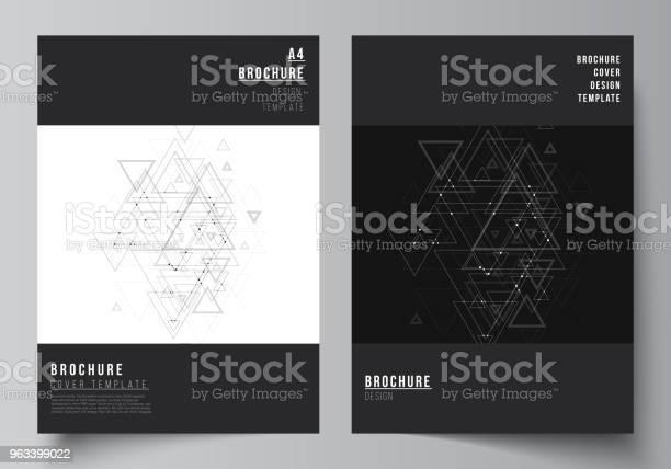 Wektor Edytowalny Układ Formatu A4 Obejmuje Makiety Szablonów Projektowych Broszur Magazynów Ulotek Broszur Wielokątne Tło Z Trójkątami Łączącymi Kropki I Linie Struktura Połączeń - Stockowe grafiki wektorowe i więcej obrazów Trójkąt