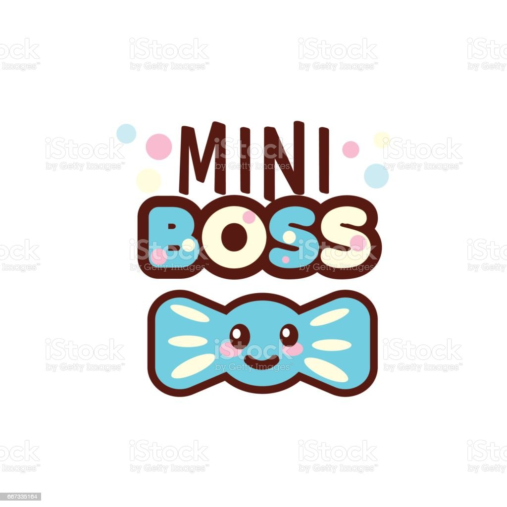 the vector illustration of blue ribbon and the mini boss text with