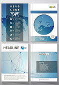 The vector illustration of the editable layout of four A4 format covers with the circle design templates for brochure, magazine, flyer. World map on blue, geometric technology design, polygonal texture.