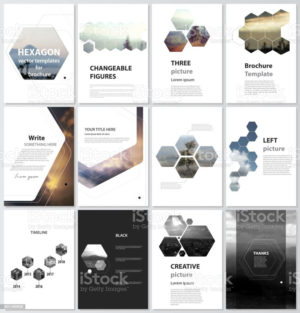 The vector illustration of the editable layout of A4 format covers design templates for brochure, magazine, flyer, booklet, report. Abstract polygonal modern style with hexagons vector art illustration