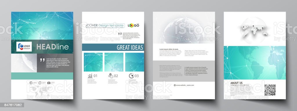 The vector illustration of the editable layout of A4 format covers...