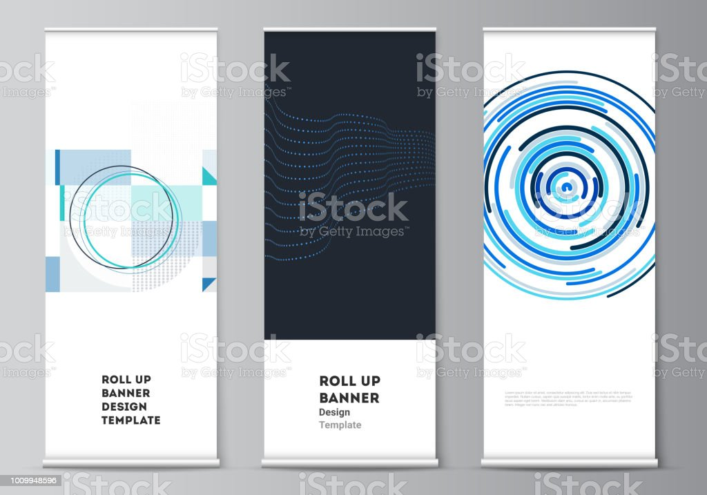 the vector illustration of the editable layout of roll up banner
