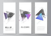The vector illustration of the editable layout of roll up banner stands, vertical flyers, flags design business templates. Colorful polygonal background with triangles with modern memphis pattern