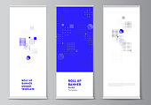 The vector illustration of the editable layout of roll up banner stands, vertical flyers, flags design business templates. Abstract vector background with fluid geometric shapes
