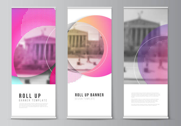 the vector illustration of the editable layout of roll up banner stands, vertical flyers, flags design business templates. creative modern bright background with colorful circles and round shapes - вертикальный stock illustrations