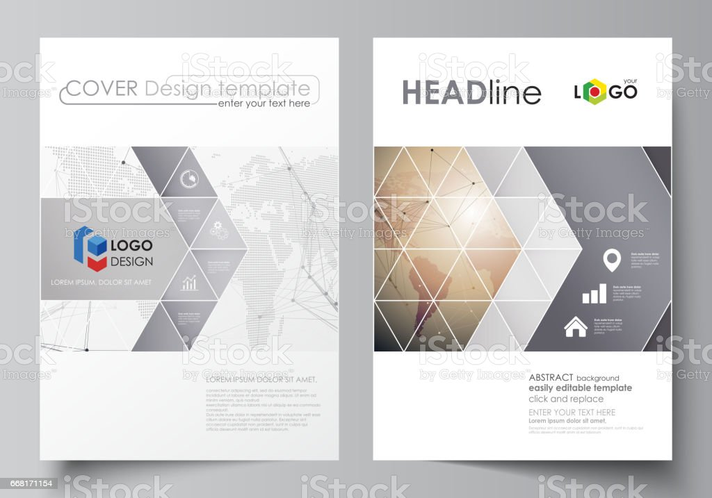 the vector illustration of the editable layout of two a4 format covers with triangles design templates