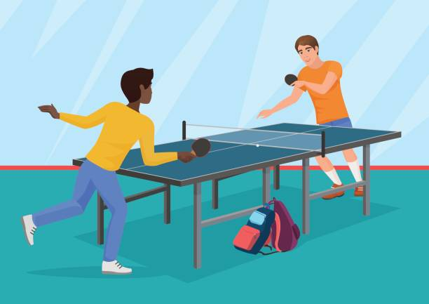 The vector illustration of two friends playing the table tennis. The vector illustration of two friends playing the table tennis ping pong table stock illustrations