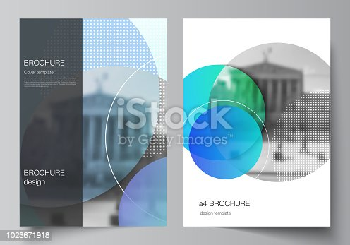 The vector layout of A4 format modern cover mockups design templates for brochure, magazine, flyer, booklet, annual report. Creative modern bright background with colorful circles and round shapes.