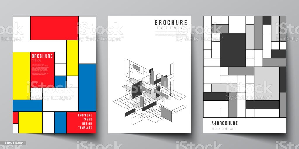 The vector layout of A4 format modern cover mockups design templates...