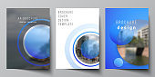 The vector layout of A4 format modern cover mockups design templates for brochure, magazine, flyer, booklet, annual report. Creative modern blue background with circles and round shapes
