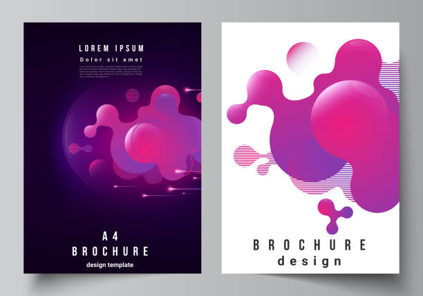 The vector layout of A4 format modern cover mockups design templates for brochure, magazine, flyer, booklet, annual report. Black background with fluid gradient, liquid pink colored geometric element. – artystyczna grafika wektorowa