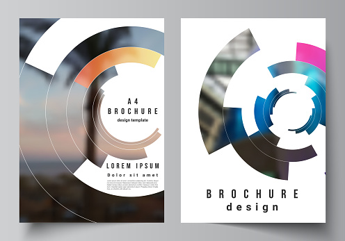 The vector layout of A4 format modern cover mockups design templates for brochure, magazine, flyer, report. Futuristic design circular pattern, circle elements forming geometric frame for photo.