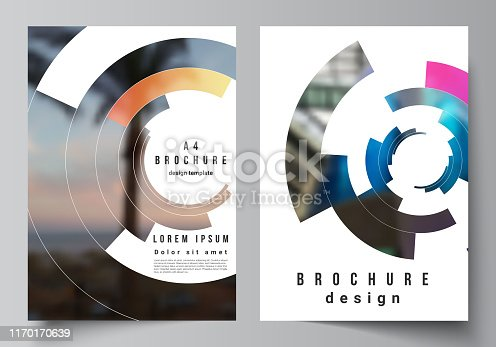 The vector layout of A4 format modern cover mockups design templates for brochure, magazine, flyer, annual report. Futuristic design circular pattern, circle elements forming geometric frame for photo
