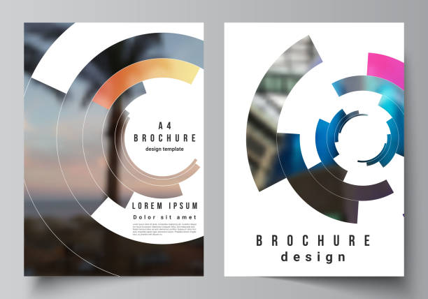 the vector layout of a4 format modern cover mockups design templates for brochure, magazine, flyer, report. futuristic design circular pattern, circle elements forming geometric frame for photo. - katalog stock illustrations