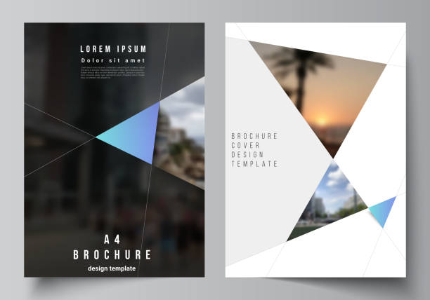 The vector layout of A4 format modern cover mockups design templates for brochure, magazine, flyer, booklet, report. Creative modern background with blue triangles and triangular shapes. Simple design – artystyczna grafika wektorowa