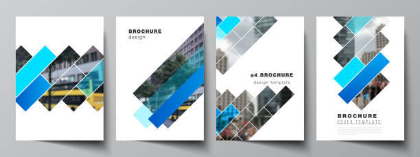 The vector layout of A4 format modern cover mockups design templates for brochure, magazine, flyer, booklet, annual report. Abstract geometric pattern creative modern blue background with rectangles. – artystyczna grafika wektorowa