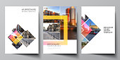 The vector layout of A4 format modern cover mockups design templates for brochure, magazine, flyer, booklet, annual report. Creative trendy style mockups, blue color trendy design backgrounds