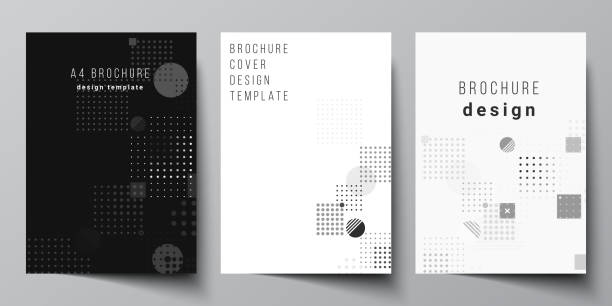 The vector layout of A4 format modern cover mockups design templates for brochure, magazine, flyer, booklet, annual report. Abstract vector background with fluid geometric shapes. – artystyczna grafika wektorowa