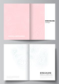 The vector layout of two A4 format modern cover mockups design templates for bifold brochure, magazine, flyer, booklet, annual report. Topographic contour map, abstract monochrome background