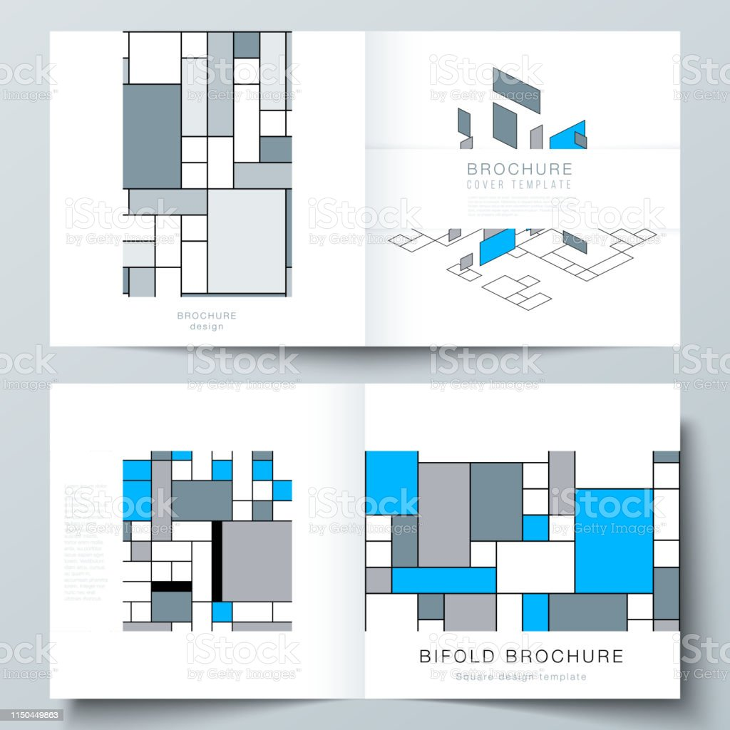The vector layout of two covers templates for square design bifold...
