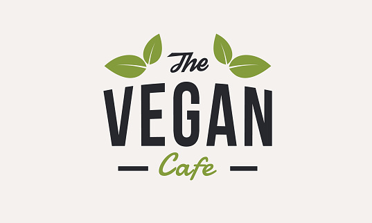 The Vegan Cafe logo template with green leaves isolated. Organic food. Vector logo design for vegetarian food store or restaurant.