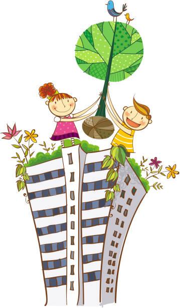 ilustrações de stock, clip art, desenhos animados e ícones de da vista das crianças - ivy building