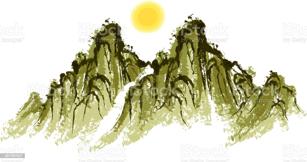 The view of mountain royalty-free stock vector art
