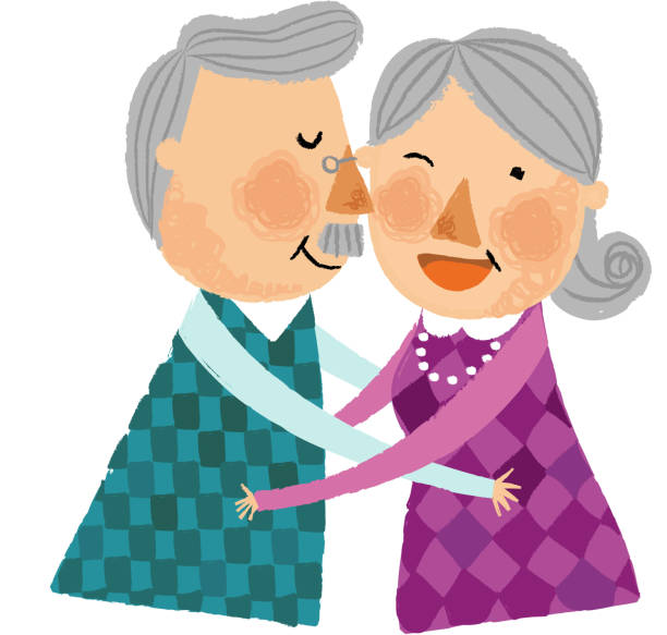 the view of old couple - old man kissing stock illustrations, clip art, cartoons, & icons