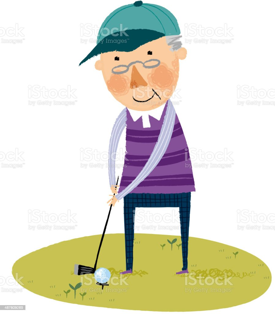 The view of old man vector art illustration