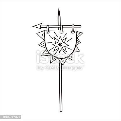 istock The Viking flag. Medieval doodles. Vector hand-drawn clip art in the Scandinavian style 1304017071