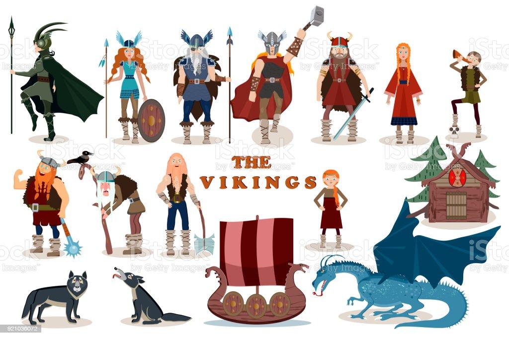 Ilustración De Los Vikingos Personajes De Dibujos Animados De