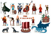 The Vikings. Viking cartoon characters. Valkyrie, berserker, warrior, old man, god Odin, god Thor, drakkar, wooden sail boat,  wooden house, wolves, dragon, girl, boy.Vector illustration. Flat style.