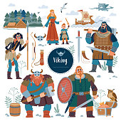 The Vikings. Viking flat characters and Set viking.