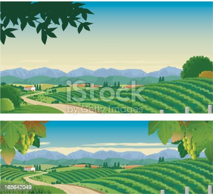 Country scene of vineyards, grapes, rolling hills and house, with a background of mountains. 2 versions with interchangeable and scalable elements on separate layers.