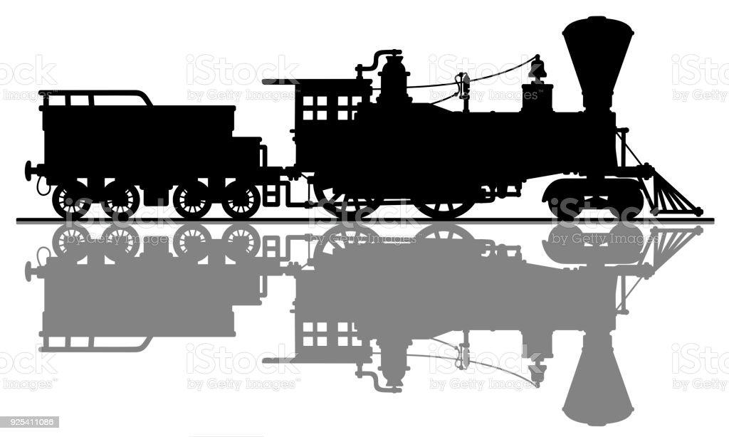 Ilustración de La Locomotora A Vapor Americana Vintage y más banco ...
