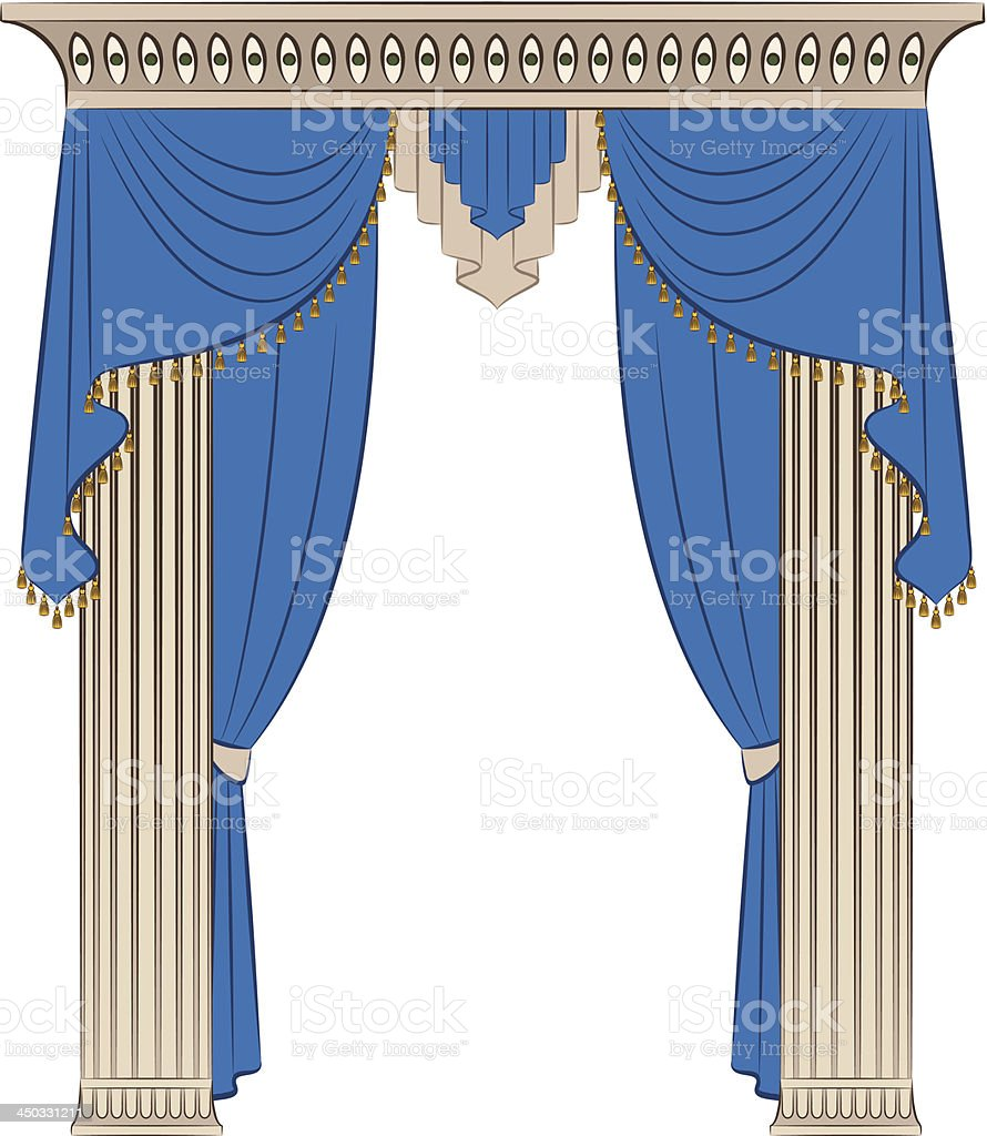 The vintage blue curtain and columns. Vector royalty-free the vintage blue curtain and columns vector stock vector art & more images of architectural column