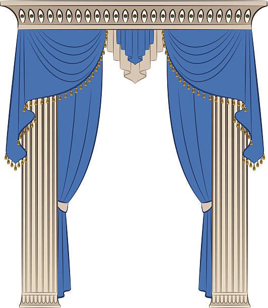 vintage-blauer vorhang und säulen. vektor - stoffrollos stock-grafiken, -clipart, -cartoons und -symbole